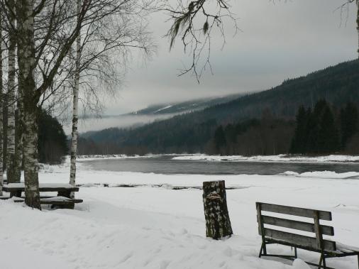Klarälven om vintern. I boken har den sitt gamla namn Storälven.