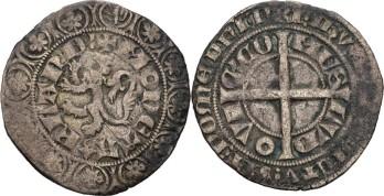 Nederlänskt medeltida silvergroschen, en sådan som Ylva vägrar växla.