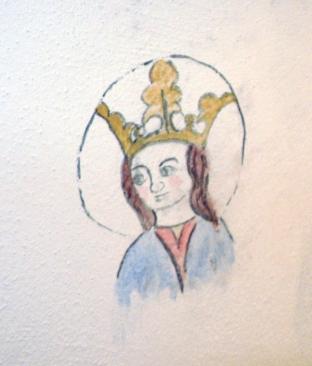Kalkmålning, madonnan som jag målade på skafferiväggen hos vännerna Ann-Marie och Jan.