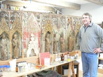 Konservator Carl-Henrik Eliason berättade om retabler och träskulpturer.