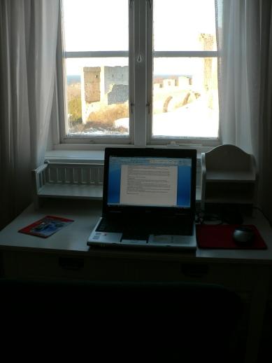 Arbetsplats med utsikt. Bonnierhuset i Visby.